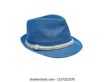 Blue vintage straw children hat fasion. Isolated on white.