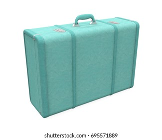 Blue Vintage Suitcase Isolated. 3D rendering