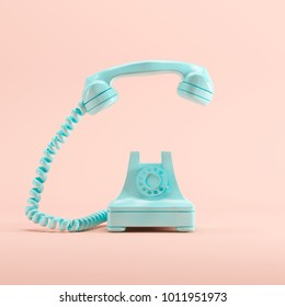 Blue vintage telephone on pink pastel color background. minimal idea concept.