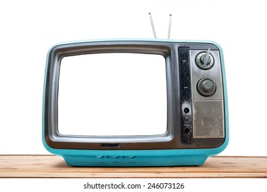 Blue Vintage TV on wood table , isolated white background