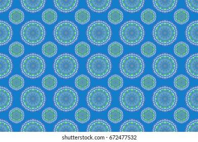 In blue, violet and pink colors. Ikat damask seamless pattern background tile. Raster illustration.