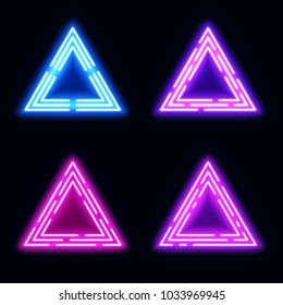 Blue violet purple pink neon light triangles set. Shining techno frame collection. Night club 3d banners on dark blue backdrop. Neon abstract tech background with glow. Technology illustration.
