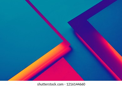 Blue, violet and red paper concept background with shadow and copy space. Geometric layer design.