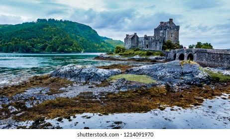 Blue vivid shot of Eilean Donan Castle.