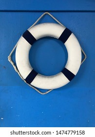 The blue wall with buoy for safety people for lifeguard.