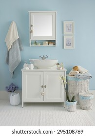 blue wall  clear bathroom style