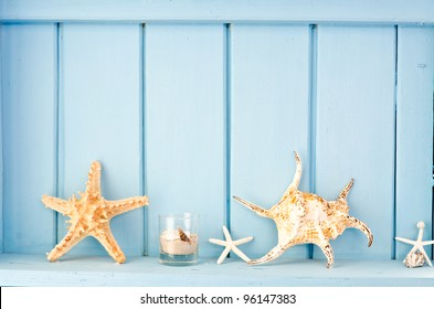 Blue wall decoration with shellfish, beach style decoration