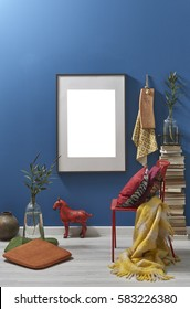blue wall frame and old book eclectic style