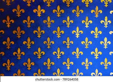 Blue wall with golden fleur de Lis, background