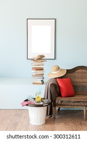 blue wall interior style with wicker sofa