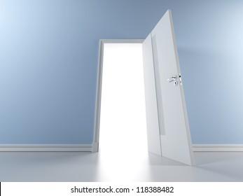 Blue wall with open door