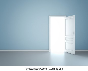 blue wall with opened door