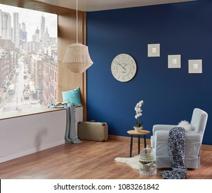blue wall and room background forest and city view style. Interior decoration chair lamp mirror accessory.
