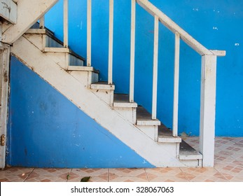 Blue wall and stair for step