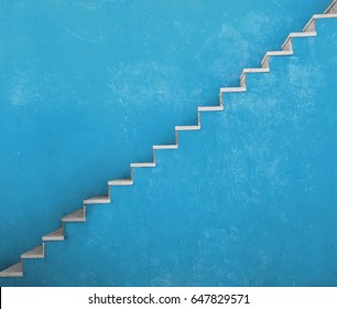 Blue wall with stairs texture background, minimalistic style for base image for posters, banners or covers, trivial design and simplicity is a trendy key for graphic arts, bright deep full color