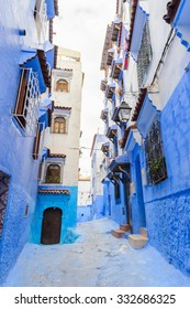 Blue walls of the houses  of Chefchaouen, Morocco.
