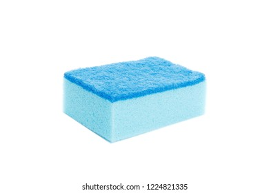 Blue Washcloth on a white background. Isolated.