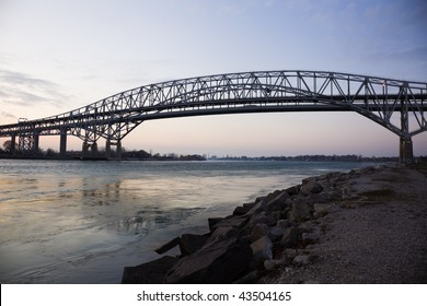 Blue Water Bridge - border between USA and Canada. Port Huron, Michigan.
