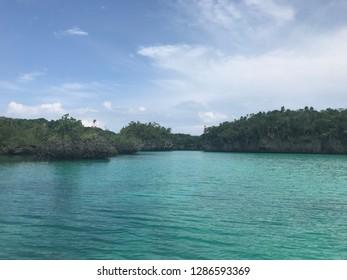 Blue water color beach in Baer Island, Kei Island, Indonesia