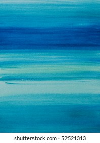 Blue water color painted background in various shades