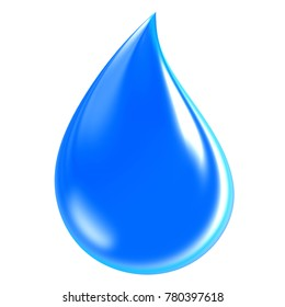 Blue Water Drop isolated on white background, include clipping path, 3d render