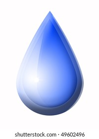 Blue water drop on white background