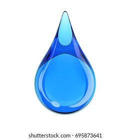 Blue water drop on white background 3d rendering