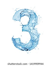 blue water font number 3 isolated on white background