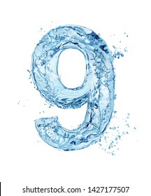 blue water font number 9 isolated on white background