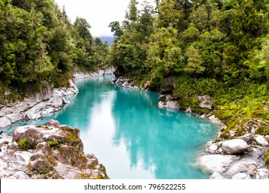 Blue water of the Hokitika River through the rock sided at Hokitika Gorge Scenic Reserve, West coast, south island New Zealand