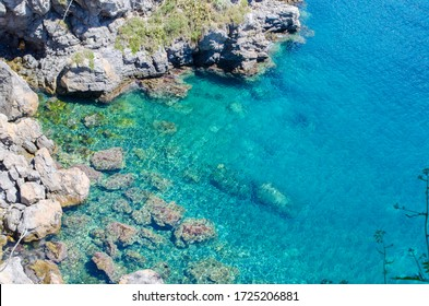 Blue water of ionic sea in small lagune o Ithaca island. Greece