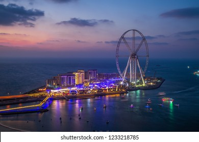 Blue Water Island Dubai UAE Sunset Overview