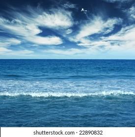 Blue water landscape