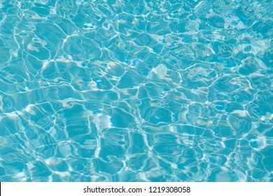 Blue water ripple reflection in the swimming pool background