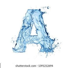 blue water splash alphabet letter A isolated on white background