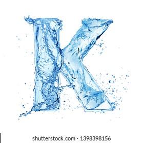 blue water splash alphabet letter K isolated on white background