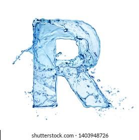 blue water splash alphabet letter R isolated on white background
