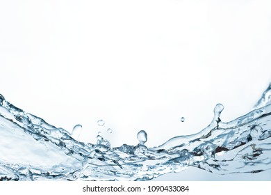 blue water splash isolated and blank space on white background for abstract water concept