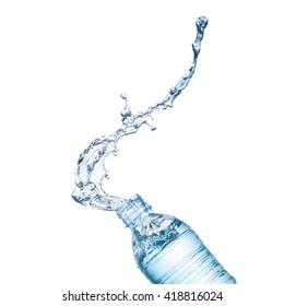 Blue water splash on bottle