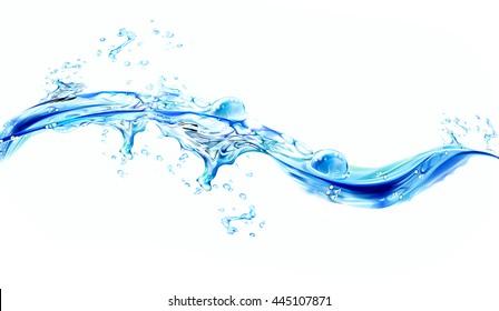 Blue water splashes over white background. 3D illustration