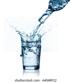 blue water splashing on glass, isolated on white background.