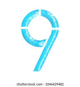 Blue water textured number nine 9 in a 3D illustration with a bright blue wavy pool or ocean surface and stencil font style isolated on a white background with clipping path.