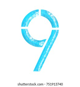 Blue water textured number nine 9 in a 3D illustration with a crisp wavy liquid pool or ocean surface and stencil font style isolated on a white background