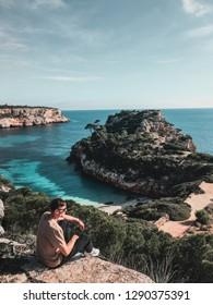 Blue water view of the beach, Cala del Moro, Mallorca, Ballearic islands
