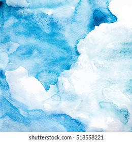 Blue watercolor abstract background.