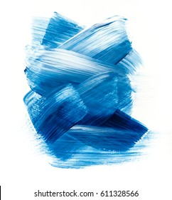 Blue watercolor acrylic paint stain isolated on white background. Dynamic Brush Stroke. Art Abstract Space for Text or log. Concept for stickers, banners, cards, advertisement