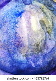 Blue watercolor background on paper