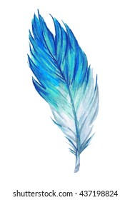 Blue watercolor feather. Hand drawn watercolor blue feather. Boho feather style. Raster illustration.