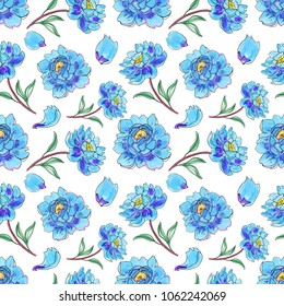 blue watercolor flowers. Seamless background.