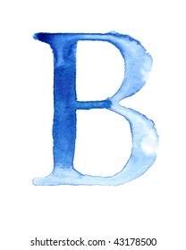 Blue watercolor letter
